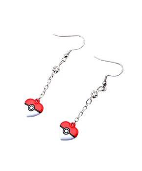 Pokemon Heart Shaped Pokeball Dangle Earrings