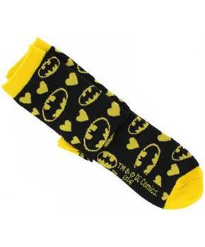 Batman Black and Yellow Hearts Junior Crew Socks