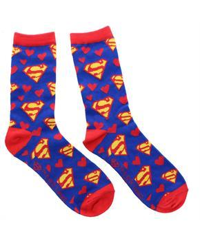 Superman Red and White Hearts Junior Crew Socks