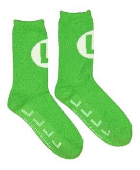 Super Mario Bros. Green Luigi Logo Cozy Adult Crew Socks