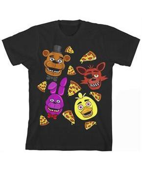 "Five Nights at Freddy's ""Faces and Pizza"" Boy's Black T-Shirt"