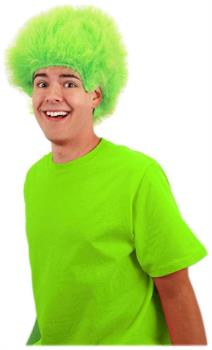 Lime Green Fuzzy Costume Wig Adult