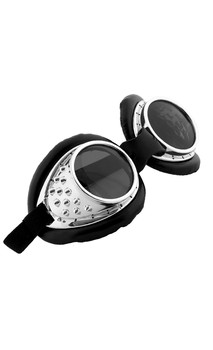 Radioactive Aviator Silver Adult Costume Goggles