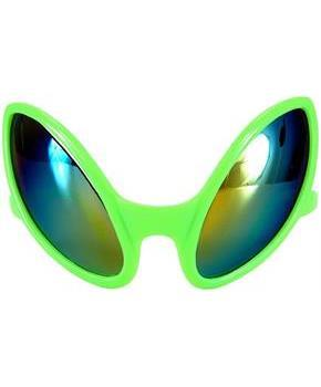 Close Encounter Alien Costume Mirrored Glasses Green Adult