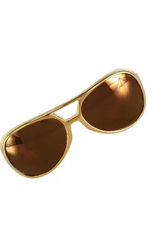Rock and Roll King Gold Adult Costume Glasses
