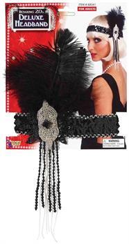 Deluxe Black And Silver Sequin Flapper Headband