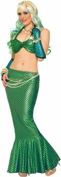 Mermaid Long Tail Costume Skirt Green One Size