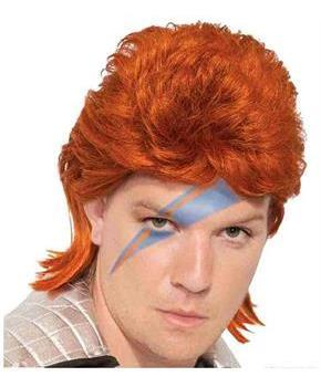 Orange David Bowie Rock Star Adult Costume Wig