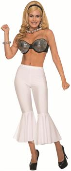 Disco Women's Crop Bell Bottom Costume Pants, White, One Size