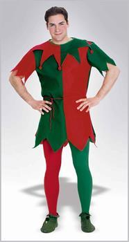 Christmas Holiday Elf Costume Tights Adult: Red and Green