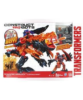Transformers Construct-Bots Dinofire Grimlock and Optimus Prime Set