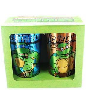 Teenage Mutant Ninja Turtles Leo and Mike Foil Print Pint Glass 2-Pack