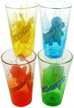 Pokemon Clear Colored Pint Glass 4 Pack