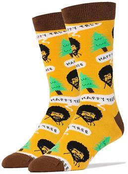 Boys Oooh Yeah! Bob Ross Happy Tree Men's Crew Socks