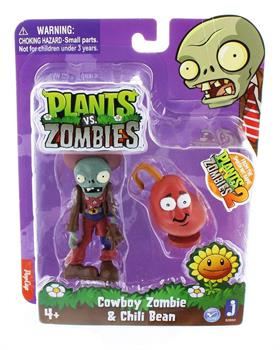 "Plants Vs Zombies Cowboy Zombie and Chili Bean 3"" Action Figure Pack"