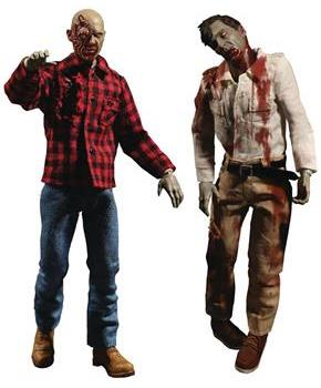 Dawn of the Dead One:12 Collective Action Figure Set - Fly Boy & Plaid Zombie