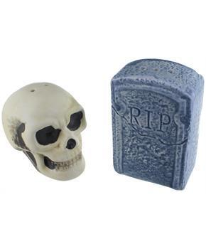 Graveyard Skull and Tombstone Salt and Pepper Shakers