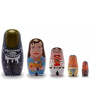 Alien 5-Piece Wood Nesting Dolls Set