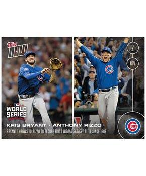 Chicago Cubs Kris Bryant Throws To Anthony Rizzo To Secure First World Series Title Since 1908 - Topps Now #663A