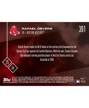 MLB Boston Red Sox Rafael Devers #391 2017 Topps NOW Trading Card