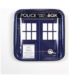 "Doctor Who 9"" TARDIS Square Paper Plates, Set of 8"