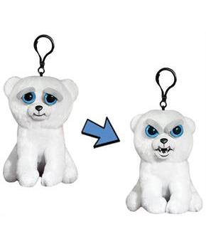 "Feisty Pets 4"" Plush Keychain: Karl the Snarl Polar Bear"