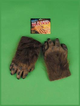 Brown Werewolf Hairy Hands Gloves Costume Accessory Adult