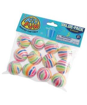 Rainbow Striped Bounce Balls/35Mm (Include 12 Units)