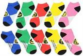 Power Rangers Ankle Socks 5-Pack Yellow, Red, Green, Blue and Pink