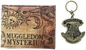 "Harry Potter ""Muggledom Mysterium"" Bi-Fold Wallet and Hogwarts Keychain Set"