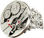 Steampunk Watch Gears Silver Costume Ring Adult
