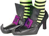 Witch Shoe Covers Accessory With Purple Buckles