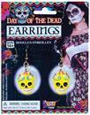 Day Of The Dead Yellow Skull Costume Earrings