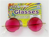 Round Hippie Costume Glasses Adult: Pink Lenses