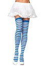 Blue and White Nylon Striped Costume Thigh High Stockings Adult