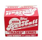 MLB 1986 Topps Baseball Traded Series - Set of 132 Cards