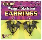 Gothic Winged Skeleton Costume Earrings
