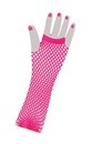 Fishnet Long Fingerless Adult Costume Gloves Pink