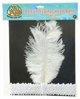Ostrich Feather Head Band/White (Include 1 Units)