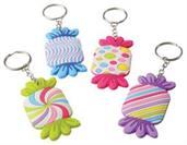 Candy Rubber Keychains (Include 12 Units)